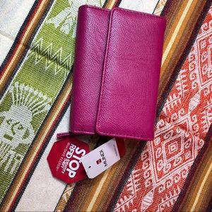 NWT MUNDI fuchsia RFID bi fold wallet